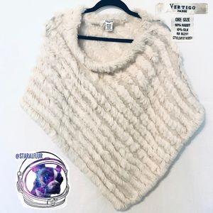 Vertigo Paris Cream Rabbit Fur & Silk Poncho